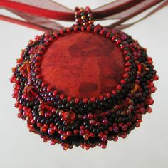 Bead embroidery  pendant Red Coral  Best Valentine's by LIAKURZ, $65.00