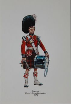 Drummer Queen's Own Highlanders 1978 Postcard from the Highlander Museum in Scotland. http://www.thehighlandersmuseum.com/store/drummer-1978-postcard-6/
