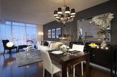 The black color in the kitchen interior