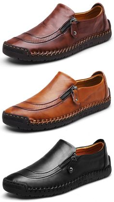 US$47.22 Men Hand Stitching Zipper Slip-ons Leather Shoes#shoes #work #style #business