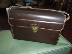 Vintage Coast Camera bag Brown leather with green crushed velvet interior by MilliesAttique on Etsy