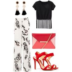 Glam night black & white w/ red by magic-armarium on Polyvore featuring polyvore, moda, style, Warehouse, Schutz and MICHAEL Michael Kors