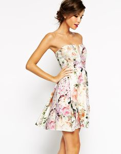 Image 1 of ASOS WEDDING Notch Bandeau Floral Mini Dress