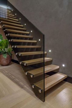 21 Beautiful Modern Glass Staircase Design - Home Design - Info Virals - New Fashion and Home Design around the World Glass Stairs Design, Staircase Design Modern, Home Stairs Design, Modern Stairs, Railing Design, Interior Stairs, Interior And Exterior, Modern Design, House Design
