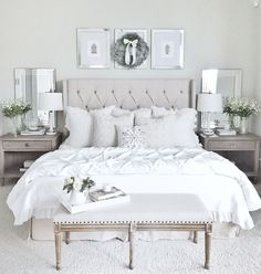 More neutral than b&w, but what a pretty holiday look for a guest room. #clean_white_decor