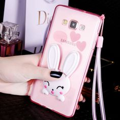 For Samsung Galaxy J5 J7 A3 A5 A7 2016 Grand Prime G530 S7 S6 Edge S5 Case 3D Rabbit Ear Glitter Stand PC Cover Phone Cases