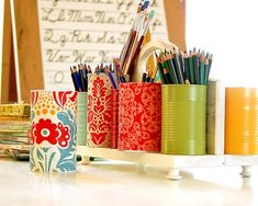 Organization idea using old alum cans - great recycle project. Totally customizable!!!! by lori