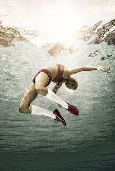 Underwater sportswear. 2012. Photographer Juergen Knoth. underwater photography. floating. weightless.