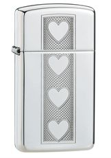 Zippo High Polish Slim® lighter engraved with hearts.