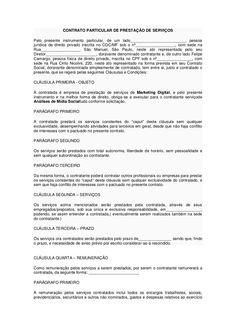 Contrato particular de prestação de serviços by Felipe Camargo via slideshare