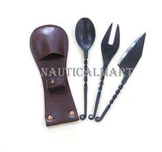 NauticalMart Medieval Eating Utensil Set Iron