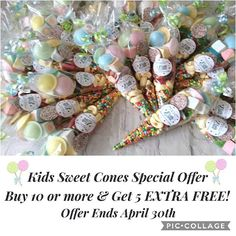 Kids Sweet Cones, Special Offer, Buy 10 or Sweet Cones and Get 5 Extra Free! Party Co, Party Bags, Party Gifts, Sweet Cones, Best Sweets, Goody Bags, Party Favours, Kids Party Themes, Gift Cake