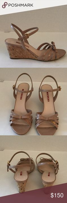 Prada Nude Patent Leather Cork Wedge Sandals Sz 39 Prada nude patent leather bow cork wedge sandals in size 39.  10 inch insole and 3 inch heel. Very good condition. Prada Shoes Wedges