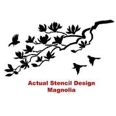 Wall Stencil Magnolia - Reusable stencils better than Wall Decals Large Wall Stencil, Stencil Wall Art, Tree Stencil, Wall Stencil Patterns, Large Stencils, Stencil Diy, Stencil Designs, Wall Decals, Expensive Wallpaper
