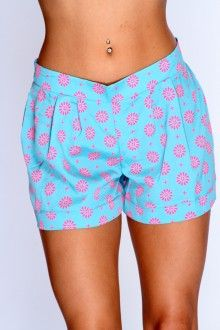 Aqua Fuchsia Printed Low Rise Shorts