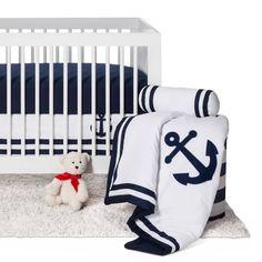 Sweet Jojo Designs Anchors Away 11pc Crib Bedding Set - Navy. Image 1 of 9.