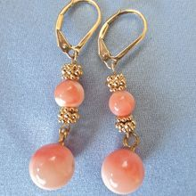 Angel Skin Coral Gold Filled Bead Earrings