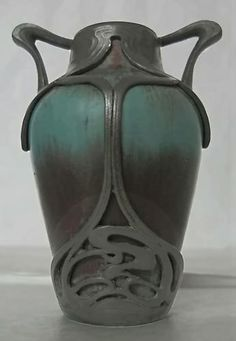 Teal and purple Art Nouveau vase with pewter trim detail – c.1910, Eugene Baudin