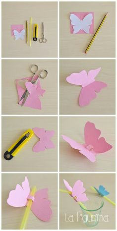 Here is my new photo tutorial for you, easy and quick z-Hier für Sie mein neues Foto-Tutorial, einfach und schnell zu erstellen! U … – derBilder Here is my new photo tutorial, easy and quick to create! Butterfly Wall Art, Paper Butterflies, Butterfly Crafts, Paper Flowers Diy, Flower Crafts, Diy Paper, Paper Crafts, Butterfly Decorations, Butterfly Birthday Party