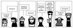 Comic example for practicing questions words in French with Stripgenerator.