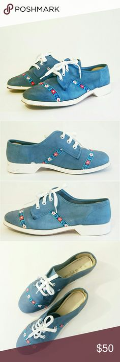 Vintage Bowling Shoes with Floral Trim - Brunswick How cute are these?! Brunswick,  blue, vintage bowling shoes with blue, white, and red floral patterned ribbon trim on toe and sides. New, white laces. Good vintage condition. Not just for bowling! So cute with shorts or jeans. Size US 6.5, fits pretty much like a modern 6.5! Shoes Flats & Loafers