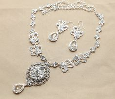 Vintage Wedding Bridal Jewelry Set Swarovski Rhinestone Crystals Necklace & Pierced Earrings -- Made To Order on Etsy, $39.99