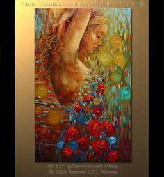 Figure 36 Oil Painting Original Abstract Art Female by Nizamas, $450.00