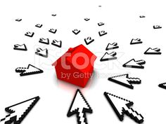3D Cursors and red house royalty-free stock photo