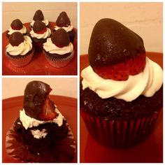 Cupcakes, Devils food cake, buttercream frosting, topped with a chocolate covered strawberries