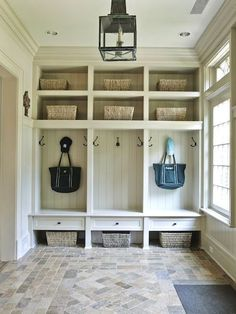 Mudroom with Cubbies and Hooks