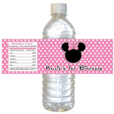 Printable Personalized Pink Polka Dots Minnie Mouse Water Bottle Labels Wrappers - Birthday Party Baby Shower Girl Custom Wraps. $10.00, via Etsy.