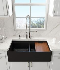 Kitchen inspiration with a black farm style sink, white cabinets, marble counters and backsplash. Are you looking for more home inspiration? Check out. Black Farmhouse Sink, Farmhouse Chic, Farmhouse Sink Kitchen, Farm Style Sink, Farm House Sink, Black Sink, Black Kitchen Sinks, Brass Kitchen Faucet, Kitchen Backsplash