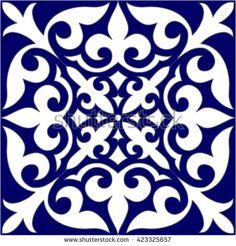 Geometric Islamic Seamless Pattern Arabesque blue and white.