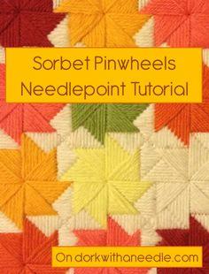 Sorbet Pinwheels Needlepoint Tutorial on dowkrwithaneedle.com