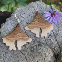 Your place to buy and sell all things handmade Wooden Earrings, Wooden Jewelry, Leaf Earrings, Sterling Silver Earrings, Natural Wood, Eco Friendly, Dangles, Herbs, Leaves