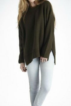 Super soft dark olive crew neck knit pullover with slits on side seams and hi-low hem. Oversized fit.   Nielson Pullover Sweater by Knot Sisters. Clothing - Sweaters - Crew & Scoop Neck California