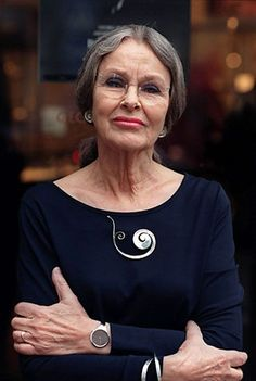"Vivianna Torun Bulow-Hube wearing her jewellery - watch, brooch, earrings ||  Vivianna Torun Bülow-Hübe (born December 4, 1927 in Malmö – died July 3, 2004 in Copenhagen), often known simply as Torun, was one of Sweden's most important 20th century silversmiths and was the 2nd most famous Georg Jensen designer, behind Jensen himself. Among her most important works are the watch ""Vivianna,"" the bracelet ""Mobius,"" and the earrings and necklaces ""Dew Drop."""