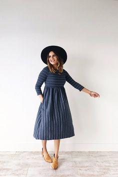 sawyer striped dress in navy