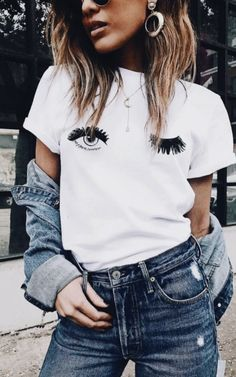 wink eyes tee + denim on denim #ootd