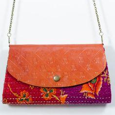 Handtooled leather & upcycled sari handbag from Matr Boomie