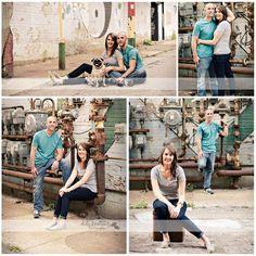 Engagement photo session with pug dog