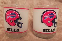 2 Buffalo Bills Glasses Mobil Gas Station by MoonbearConnections
