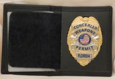 Other Hunting Holsters and Belts 22701: Concealed Handgun License Badge And Case Florida Gold BUY IT NOW ONLY: $40.0