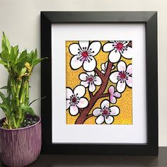 Cherry Blossoms Wall Art Print - Floral Art for Bathroom, Office, Living Room, or Nursery Decor - Fl Cherry Blossom Art, Mixed Media Painting, Yellow Background, Nursery Decor, Wall Art Prints, Art Decor, Print Patterns, Original Art, Floral