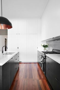 Contemporary black and white kitchen by Horton & Co Design. Photo: Alexander McIntyre | Story: Australian House & Garden