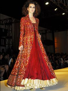 floor length anarkali by Rohit Bal Indian Dresses, Indian Outfits, Pakistani Dresses, Ethnic Wear Designer, Indian Attire, Indian Wear, Oriental Fashion, India Fashion, Beautiful Gowns