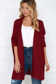 The perfect morning starts with curling up in the Cup of Cozy Wine Red Cardigan Sweater! This collarless cardigan sweater is composed of ultra-soft knit that instantly evokes warm, fuzzy feelings. Long, fitted sleeves finished in sewn cuffs and a draping