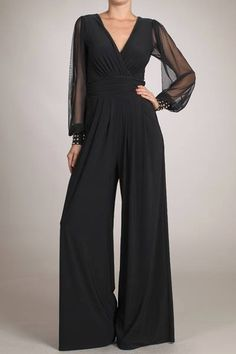 Elegant black Jumpsuit with long sheer sleeves,fits amazing! Great for evening wear, parties,etc. www.shoplavidaloca.com