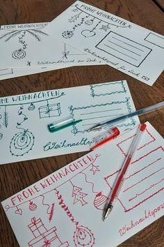 Weihnachtskarten hübsch versenden in Handletter Briefumschläge Repurposing, German, Backgrounds, Gifts, Candles, Winter, Inspiration, Xmas, Greeting Cards