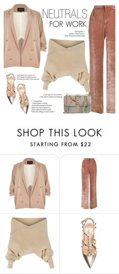 """How to Style Chic Neutrals for a Job Interview"" by outfitsfortravel ❤ liked on Polyvore featuring River Island, Alberta Ferretti, WithChic and Valentino"